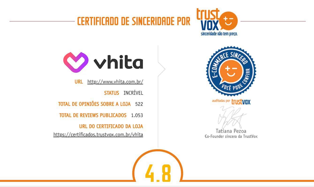 Trust vox - certificado de sinceridade Vhita.