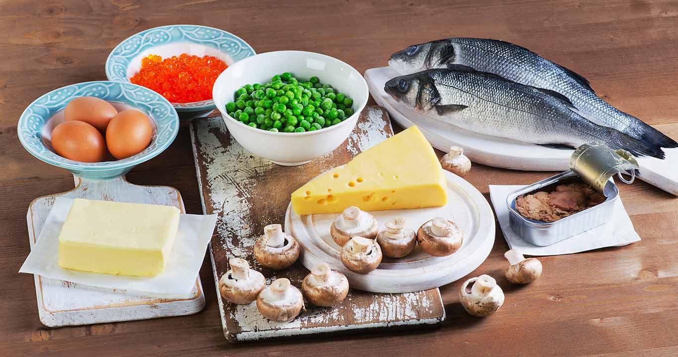 Alimentos com vitamina D.