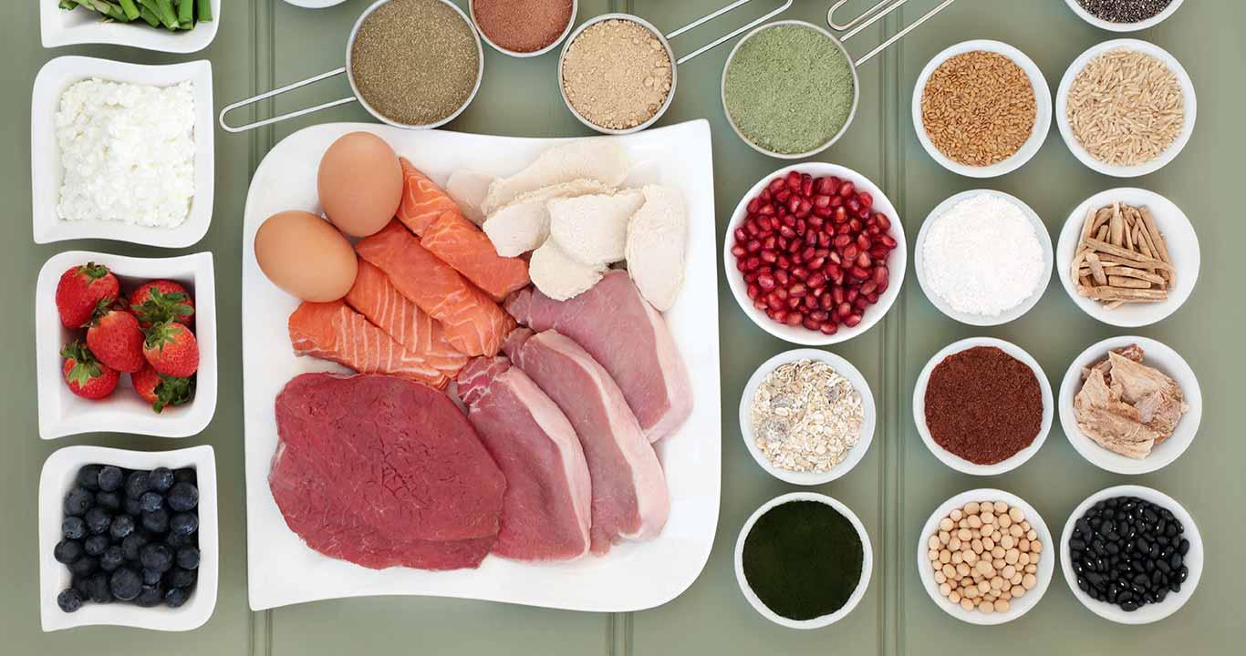 Alimentos ricos em aminoácidos.