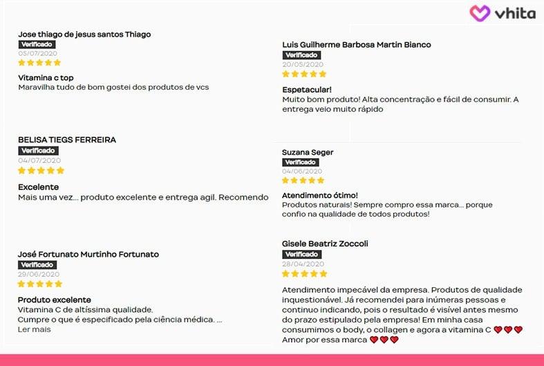 Reviews dos clientes vitamina c.